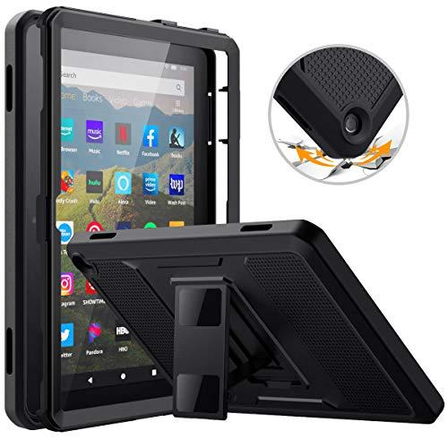 MoKo Hülle Kompatibel mit All-New Kindle Fire HD 8 Tablet and Fire HD 8 Plus Tablet (10th Gen, 2020 Release), [Heavy Duty] Ganzkörper-Rugged Hybrid Cover Schutzhülle mit Integriertem Bildschirmschutz