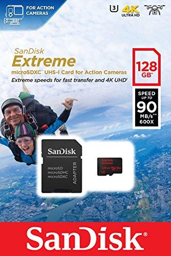 SanDisk Extreme 128GB microSDXC für Action-Sport-Kameras Speicherkarte bis zu 90MB/Sek, Class 10, U3, V30