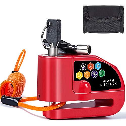 BangShou Candado de Disco con Alarma Dispositivos Antirrobo para Motos 110DB Candados para Bicicletas 7mm Candado Disco para Motos Bicicletas (Candado Disco Rojo)