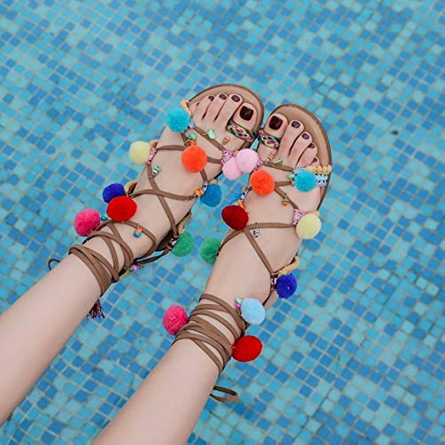 Shukun Sandalen für Damen Rmische Schuhe Strap Sandalen Weiblichen Sommer Nationalen Wind Toe Strand Schuhe Bhmischen Pin Flache Unterseite