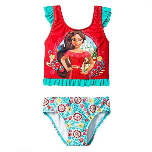 Elena of Avalor Girls Swimwear Swimsuit (Toddler) (4T, Red/Blue Elena Tankini)