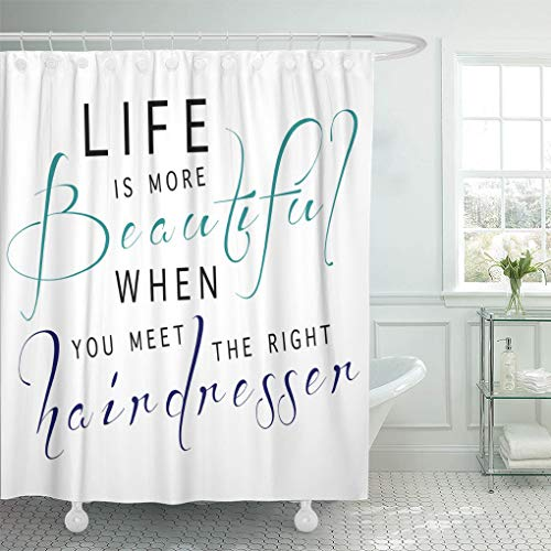 "Emvency Waterproof Fabric Shower Curtain Hooks Saying Phrase Perfect Hairdresser Funny Beautiful Beauty Salon Extra Long 72""X78"" Bathroom Odorless Eco Friendly"