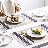 Eageroo 6er Set 30 x 45 cm Platzdeckchen Abwaschbar Tischmatte PVC Abgrifffeste Platzsets Anti-Rutsch Tischset für Den Esstisch, Blau - 2