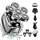 Electric Head Shaver for Men-Electric Rotary Razor & Grooming Kit,Upgrade 6 in 1 Wet&Dry Six-Head Shaver Cordless Rechargeable Hair Beard Clippers Nose Beard Trimmer -Waterproof, LED Display