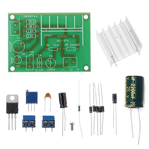 JENOR LM317 - Placa de alimentación Ajustable con Entrada de CC CC CC CC rectificada (Kit de Bricolaje)