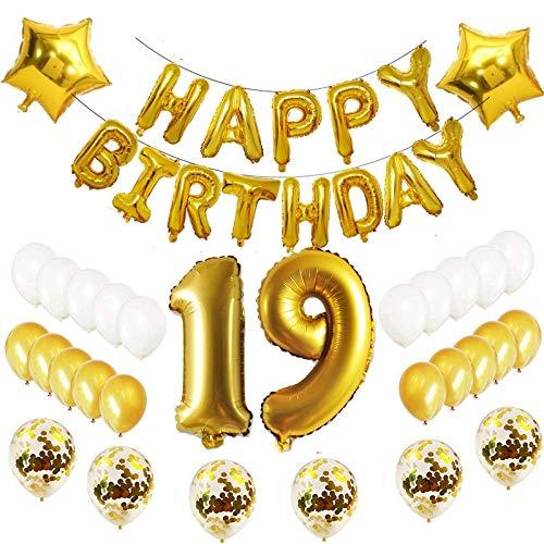 Oumezon - Globos de decoración para cumpleaños número 19, 19 unidades, color dorado
