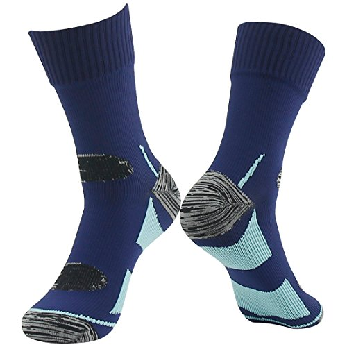 Hiking Waterproof Socks, Water Resistant RANDY SUN Mens' Christmas Gift Socks For Athletes Navy Blue&Light Blue M