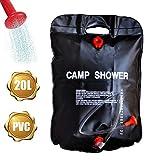 Ducha solar para camping, 20 L, portátil, ducha solar de jardín, calefacción, bolsa de ducha con alcachofa de ducha, manguera, barra y cuerda, para camping, temperatura de 10 ° hasta 40 °