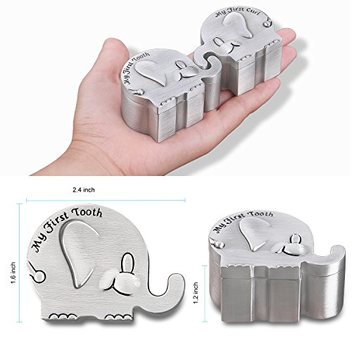 Product Image 3: NASHRIO Baby First Tooth Fairy and Curl Keepsake Box – Cute Kids Metallic Engraved Elephant Shape, Great Gift Idea to Keep The Childwood Memory