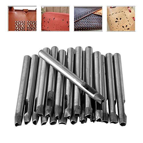 HEEPDD 20 Pezzi Set di punzoni Cavi, Kit di punzoni per Metallo e Cuoio Set di Perforazione in Pelle Cava Strumento per Fori di Perforazione per Fiori in Pelle Artigianale