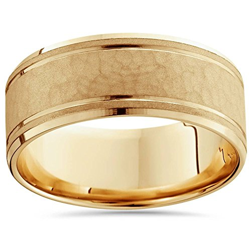 8mm Hammered Center Mens Wedding Band 14K Yellow Gold - Size 10.5 14k Gents Wedding Band