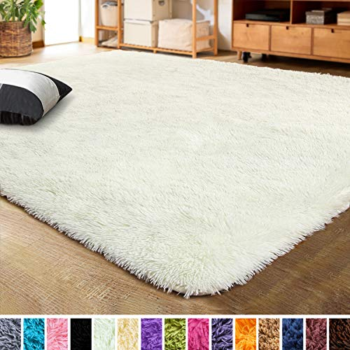 LOCHAS Ultra Soft Indoor Modern Area Rugs Fluffy Living Room Carpets for Children Bedroom Home Decor Nursery Rug 2x3 Feet, Pale Yellow