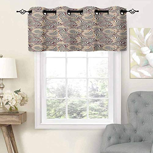 Grommet Top Curtain Valance Blackout Repeating Rounded Figures Spiral Shapes Illustration in Retro Style and Colors, Set of 2, 42'x36' Window Treatment for Living Room