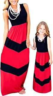 Bai You Mei Mommy and Me Matching Dresses Long Sleeve Striped Casual Print Tank Maxi Dress Family Matching Clothes