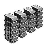 Stapelboxen Set – 20x Stapelbox mit Deckel 155x100x70 mm – Sichtbox Stapelbox Lagerbox, Schwarz