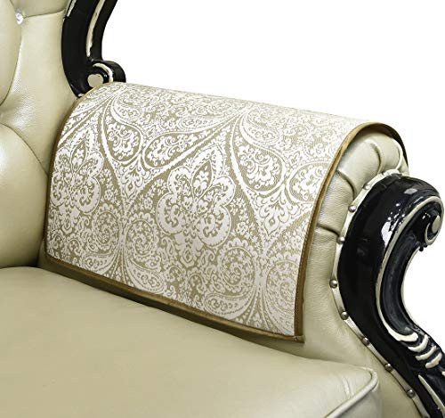 """Sideli European Sofa Arm Protector Nonslip Jacquard Armrest Cover for Chair Couch Sofa Anti-Slip Furniture Protectors Set of 2 (2pcs arm Cover- 20""""x24"""", Bgl-Beige)"""