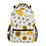 Sunflowers Bees Honey Sweet Backpacks Travel Laptop Daypack School Bags for Teens Men Women