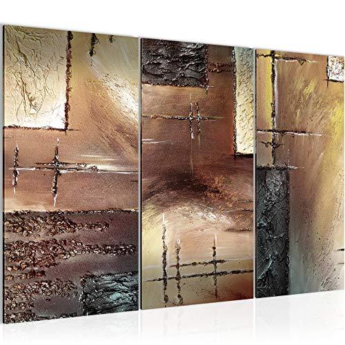 Bilder Abstrakt Wandbild 120 x 80 cm Vlies - Leinwand Bild XXL Format Wandbilder Wohnzimmer Wohnung Deko Kunstdrucke Braun 3 Teilig - MADE IN GERMANY - Fertig zum Aufhängen 100931b