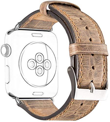 Cinturino per iWatch 38mm 40mm Serie 5 Serie 4 Series 3 2 1, DaGeLon Eccellente Pelle Bracciale Cinghia Ricambio Retrò Cuoio Sostituzione per Apple Watch Sport Edition Nike+ Hermes, Marrone