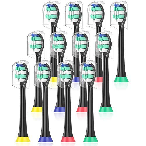 Aufsteckbürsten Kompatibel mit Philips Sonicare Elektrische Zahnbürste, 12er pack, ProResults HX9024/23 Ersatzbürsten Schwarz, Bürstenköpfe von ITECHNIK
