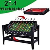 WIN.MAX WinMax Mesa Juegos 2 en 1, Mesa de Billar y Futbolín MDF Table Football Table Game, Mesa de Billar con Tissu Rouge, 137x60.5x81.5cm