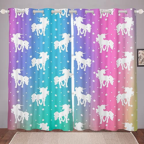"""Unicorn and Stars Window Curtains 42""""Wx84""""L,Tie Dye Pastel Curtains Rainbow Printed Window Treatments Curtains For Kids Girls Teens,Girly Sweet Colorful Window Drapes 2 Panel Set Bedroom Decor"""