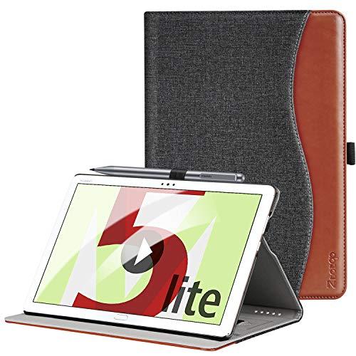 ZtotopHülle Hülle für Huawei MediaPad M5 Lite 10.1, Premium Kunstleder Leichte Hülle mit Auto Schlaf/Wach Funktion & Pen Halter, für Huawei MediaPad M5 Lite 10.1 Zoll 2018 Modell, Denim Schwarz