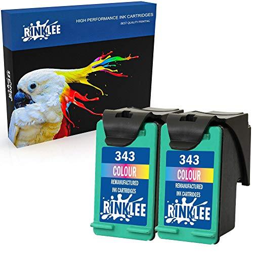 RINKLEE Remanufacturado para HP 343 XL Cartucho de Tinta Compatible con HP Photosmart 2575 2610 2710 8150 8450 8750 C3180 DeskJet 460c 6540 9800 PSC 1610 2355 Officejet 100 150 H470   Tricolor, 2-Pack