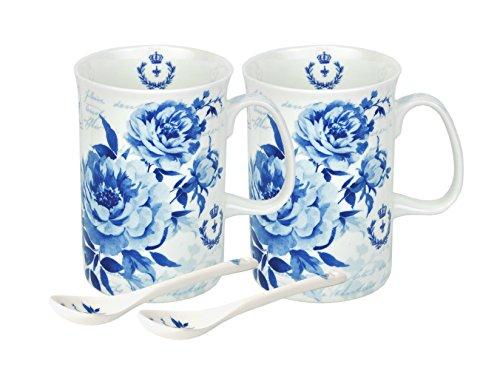 2er Set Kaffeetassen samt Löffel mit blauem Rosenmuster in einer passenden Box
