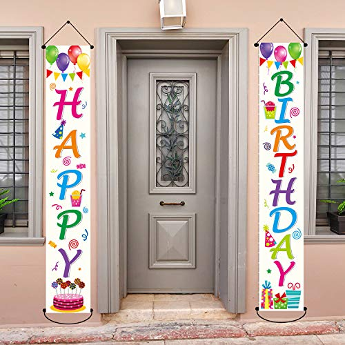 Happy Birthday Party Banner Decorations Colorful Birthday Party Supplies Fabric Welcome Porch Sign for Indoor Outdoor