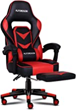 Alfordson Gaming Racing Chair Home Executive Sport Office Chair PU Leather with Footrest in Red Colour
