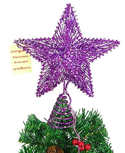 """Weihnachten Concepts® 10\""""Purple Springy Star mit weißen Led Lights - Weihnachtsbaum Top Star/Weihnachtsdekoration"""