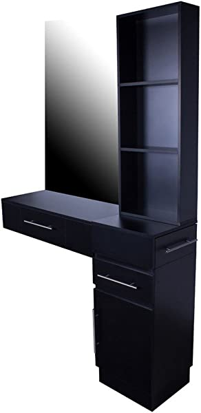 Icarus Irvine Pre Assembled Single Drawer Wall Mount Beauty Salon Hair Styling Station With Cabinet And 3 Tier Shelf