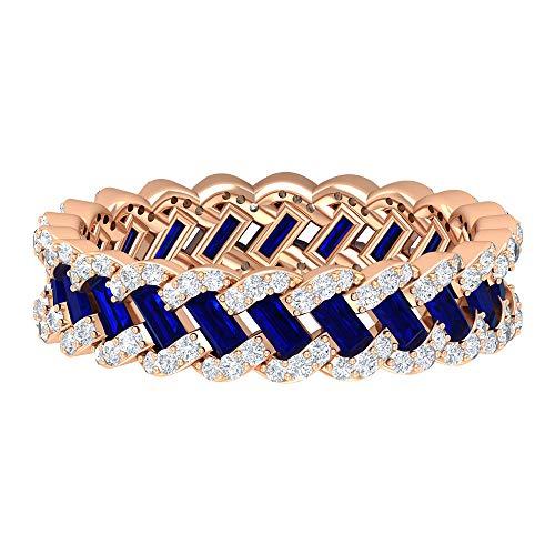 Anillo de boda vintage, único anillo trenzado, HI-SI 0,6 quilates anillos de diamante, 1,5 quilates azul zafiro creado en laboratorio, anillo de eternidad completo, 14K Oro rosa, Size:EU 64