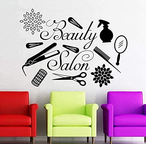 Stickers muraux Autocollant mural Salon de beauté logo coiffeur outils maquillage vitrine studio art 57X42 cm