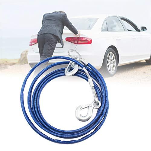 YSHtanj Abschleppseil, 4 m, robust, 1,5 Tonnen Stahldraht, Sicherheitshaken, Auto, Notfall, Abschleppseil, Blau