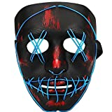 TGHCP-Halloween Light Up Glowing Mask Led Scary Mask Illuminated EL Wire Mask for Halloween Festival Party (Blue)…