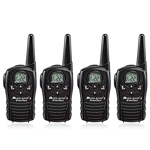 Midland LXT118 FRS Walkie Talkies with Channel Scan - Long Range Two Way Radio - Black (Pack of 4)