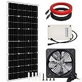 Pumplus MAX 2000CFM Solar Attic Fan All-in-one Kit, Powered by 100W Solar Panel & Battery, 14in Hosing Fan for Attic, Greenhouse- DELIVERY IN 2 PARCELS