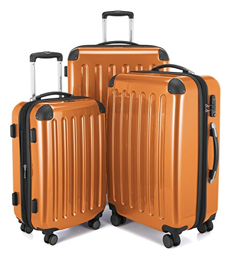 HAUPTSTADTKOFFER - Alex - Set di 3 valigie, TSA, Nero brillante, (S, M & L), 235 litri, Colore Arancione
