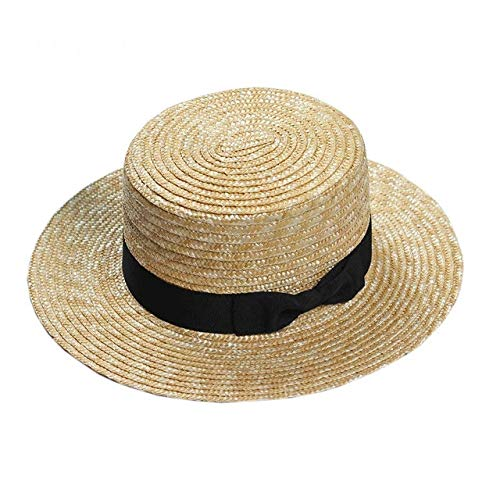Mdsfe New Summer Strandhoed voor dames, breed, casual, panama, strohoed, klassieke platte bow strohoed k2569 1-a2569