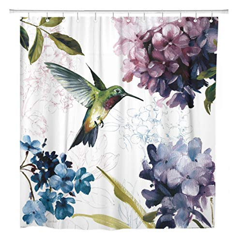 ArtSocket Shower Curtain Hummingbird Watercolor Bird Flower Home Bathroom Decor Polyester Fabric Waterproof 72 x 72 Inches Set with Hooks