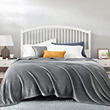 Bedsure Manta Cama 150 Invierno - Manta Sofa Extra Grande de Franela Suave, Mantas 220x240 cm para Cama 135, Gris