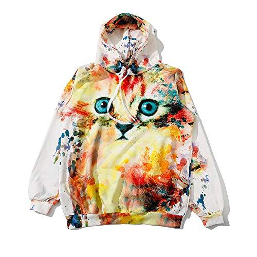 HOSD Gato Estampado Capucha Verano de de con y Jersey Manga Suelto de suéter Larga Mujer para