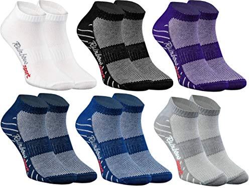 Rainbow Socks - Donna Uomo Calze Sportivi di Cotone - 6 Paia - Colori Scuri - Taglia 42-43