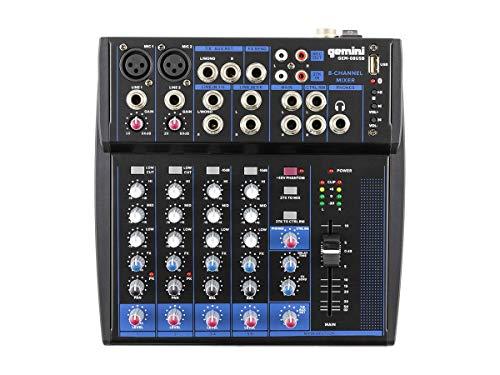 Gemini GEM-08USB Mezclador USB de 8 canales para podcasts