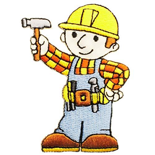 alles-meine.de GmbH 1 Stück _ Bügelbild - Bob der Baumeister - Werkzeug Hammer - 5,5 cm * 7,8 cm - Aufnäher...