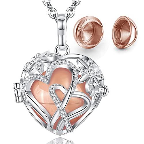 Eudora Colgantes para Cenizas Collar de Ceniza Collar de Doble Corazón para Mujer Cobre Plateado Mujer Colgantes Collar de Urna, Collar de Ceniza para Mujer Abuela Mama Regalos Originales, 61cm