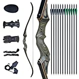 Tongtu 60' Archery Takedown Recurve Bow and Arrow for Adult Right Hand Hunting Wooden Bow Set with...