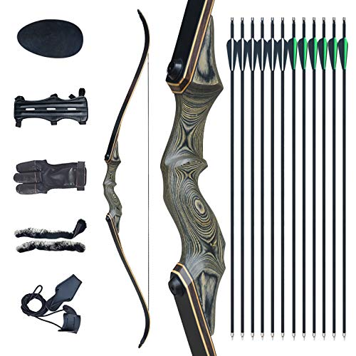 """Tongtu 60"""" Archery Takedown Recurve Bow and Arrow for Adult Right Hand Hunting Wooden Bow Set with 12pcs Carbon Arrows Target Practice Shooting Outdoor 30/40/50/60LBS (40LBS, Bronze Cyan)"""